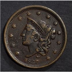 1837 LARGE CENT, XF