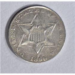 1856 3 CENT SILVER AU