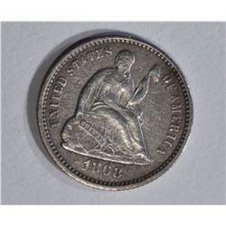 1868 SEATED LIBERTY HALF DIME XF