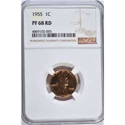 1955 LINCOLN CENT, NGC PF-68 RED