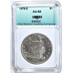 1878-S TRADE DOLLAR, EMGC AU/BU