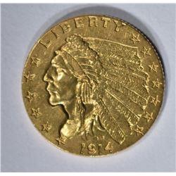 1914 $2 1/2 GOLD INDIAN HEAD  GEM BU
