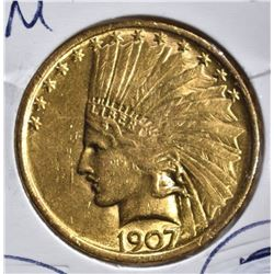 1907 $10 GOLD INDIAN HEAD  BU