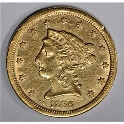 1866-S $2.50 GOLD LIBERTY  AU+