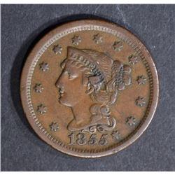 1855 LARGE CENT, AU knob on ear