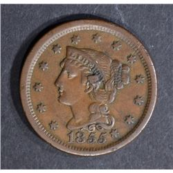 1855 LARGE CENT, AU knob on ear