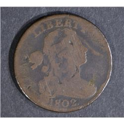 1802 LARGE CENT, VG ELEPHANT EAR VARIETY a few mar