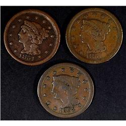 2 -1851 & 1852 LARGE CENTS - FINES