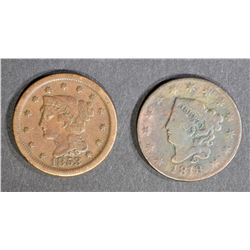 1818 VG/F & 1853 VF LARGE CENTS
