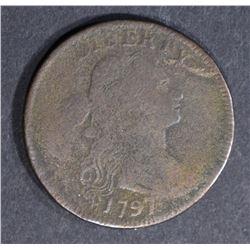 1797 DRAPED BUST LARGE CENT, FINE a little dark