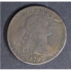 1797 DRAPED BUST LARGE CENT, FINE a little dark