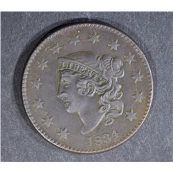 1834 LARGE CENT, AU+ DETAIL a little porous