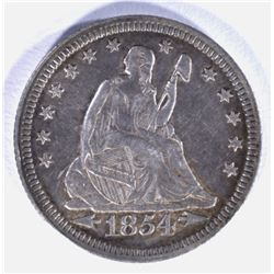 1854 WITH ARROWS SEATED QUARTER, XF/AU