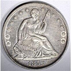 1859-O SEATED HALF DOLLAR, AU/BU