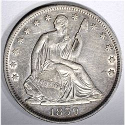 1859-O SEATED HALF DOLLAR, AU/BU