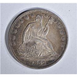1859-O SEATED HALF DOLLAR, AU