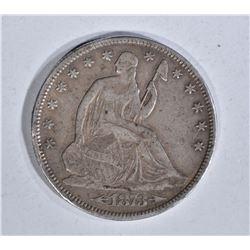 1873-CC SEATED HALF DOLLAR, XF