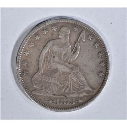 1873-CC SEATED HALF DOLLAR, XF