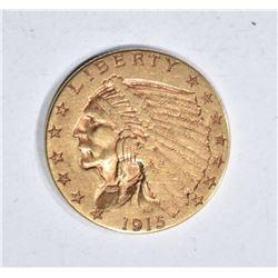 1915 $2.50 GOLD INDIAN, AU/BU