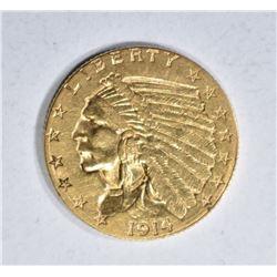 1914-D $2.50 GOLD INDIAN, AU/BU