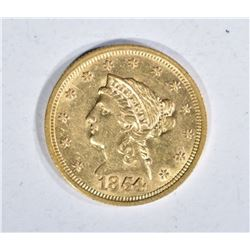1854 $2.50 GOLD LIBERTY, CH BU