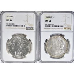 1883-O & 84-O MORGAN DOLLARS, NGC MS-61