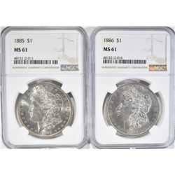 1885 & 86 MORGAN DOLLARS, NGC MS-61