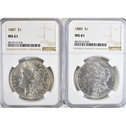 1887 & 89 MORGAN DOLLARS, NGC MS-61