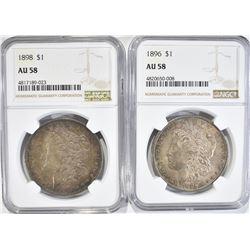 1896 & 98 MORGAN DOLLARS, NGC AU-58