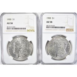 2-1900 MORGAN DOLLARS, NGC AU-58