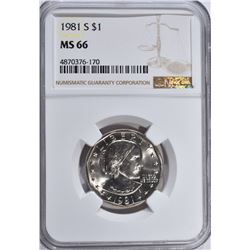 1981-S S.B.A. DOLLAR, NGC MS-66 RARE IN THIS GRADE