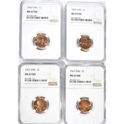 2-1966 SMS & 2-67 SMS LINCOLN CENTS, NGC MS-67 RED