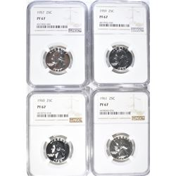 1957, 59, 60 & 61 WASHINGTON QUARTERS, NGC PF-67