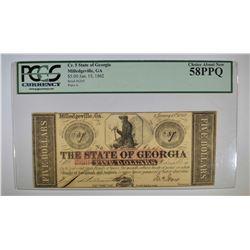 1862 $5 STATE OF GEORGIA  PCGS 58PPQ
