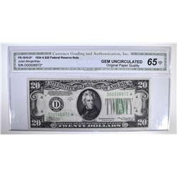 1934 A $20 FEDERAL RESERVE NOTE  CGA GEM UNC-OPQ