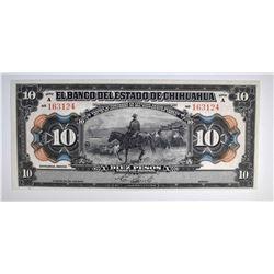 1913 10 PESOS MEXICO  GEM CU