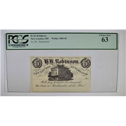 1850's 5 CENT H.H. ROBINSON  PCGS 63