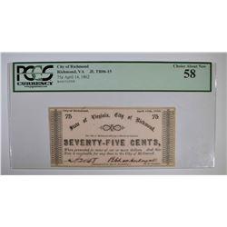 1862 SEVENTY-FIVE CENTS CITY OF RICHMOND