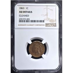 1863 INDIAN HEAD CENT NGC AU DETAILS CLEANED