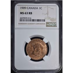 1909 CANADA ONE CENT NGC MS 63 RB