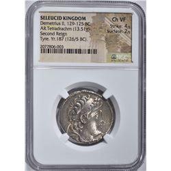 129-125 BC LARGE SILVER TETRADRACHM  NGC CH.VF