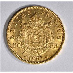 1869 BB GOLD 20 FRANCS  CH.BU