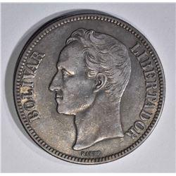 1929 SILVER 5 BOLIVARES VENEZUELA  AU