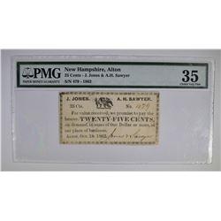 1862 25 CENTS JONES & SAWYER  PMG 35