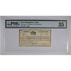 1862 25 CENTS JONES & SAWYER  PMG 35