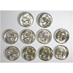 "10-BU 1944-S JEFFERSON SILVER ""WAR"" NICKELS"