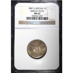 1887 GREAT BRITAIN 1 SHILLING, NGC MS-62