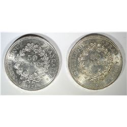 (2) 1978 FRANCE 50 FRANCS, AU/BU HERCULES COIN