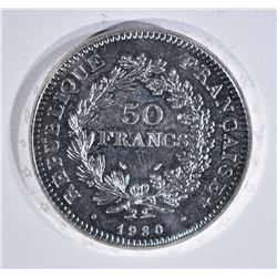 1980 50 FRANCS 90% SILVER COIN: KEY DATE RARE!