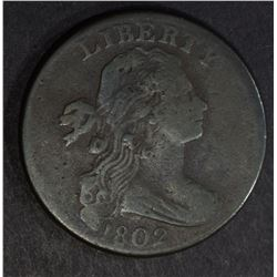 1802 DRAPED BUST LARGE CENT, F/VF